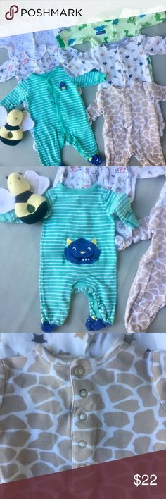 Onesie Bundle (6) All in GUC-VGUC, no stains, all footed, tried to show light wash wear (on buttons of giraffe print, pilling on monster). 2 size NB, 3 size 0-3 mo, one 3 mo. Carter's and other. Sold as set 😃 Carter's One Pieces Footies