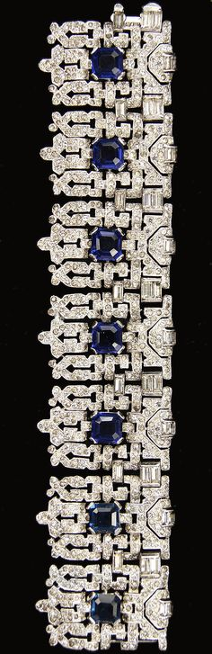 KTF Trifari 'Alfred Philippe' Pave and Baguettes Seven Shields with Sapphires 1930s Jewels of India Wide Deco Link Bracelet