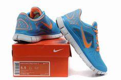 188a43cf591 Nike Free Run 3 Women s Trainers Blue Glow Platinum-Total Orange Orange  Sneakers