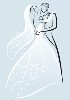 fine line art wedding background vector