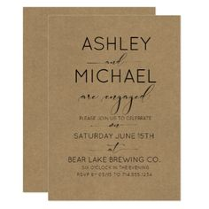 Rustic Chic Typography Engagement Party Invitation