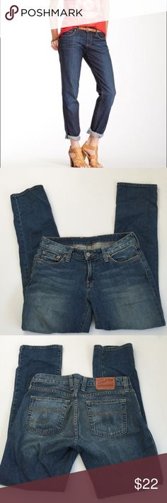 Lucky Brand Lola Straight Jeans, size 27S Lucky Brand Lola Straight jeans in size 27 short. Rise is 8.25 and inseam is 30. Made from 99% cotton and 1% spandex. Factory whiskering on pockets and hems. Please ask if you have any questions. Lucky Brand Jeans Straight Leg