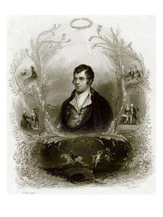 Engraved print of Robert Burns