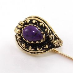 Vintage+14K+Yellow+Gold+Natural+Purple+Amethyst+Hat+Stick+Pin+A2+