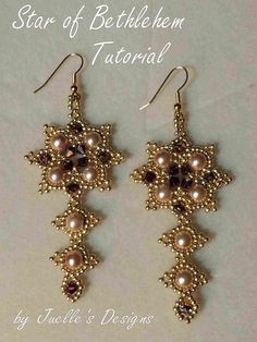 This is a tutorial for The Star of Bethlehem Earrings.   $12.00