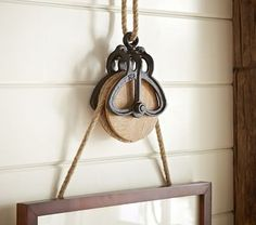 Shop rustic pulley frame hanger with rope from Pottery Barn Kids. Find expertly crafted kids and baby furniture, decor and accessories, including a variety of rustic pulley frame hanger with rope. Country Decor, Rustic Decor, Farmhouse Decor, Farmhouse Style, Vintage Farmhouse, Cottage Style, Antique Decor, Vintage Kitchen, Deco Retro