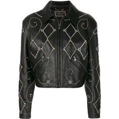 Versace gemstone biker jacket ($9,250) ❤ liked on Polyvore featuring outerwear, jackets, black, biker jackets, studded jacket, versace, versace jacket and cropped jacket