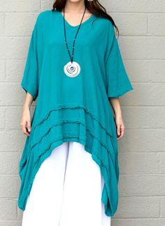 OH MY GAUZE Cotton Drip-Side Tucked Hem  GENEVA  Long Tunic  OS+ 1X/2X/3X  JADE #OHMYGAUZE #Tunic #Versatile