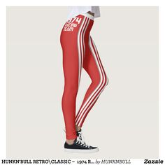 HUNKN'BULL RETRO\CLASSIC   1974 RACING RED\ LEG LEGGINGS : Beautiful #Yoga Pants - #Exercise Leggings and #Running Tights - Health and Training Inspiration - Clothing for #Fitspiration and #Fitspo - #Fitness and #Gym #Inspo - #Motivational #Workout Clothes - Style AND comfort can both be achieved in one perfect pair of unique and creative yoga leggings - workout and exercise pants - and running tights - Each pair of leggings is printed before being sewn allowing for fun designs on every…