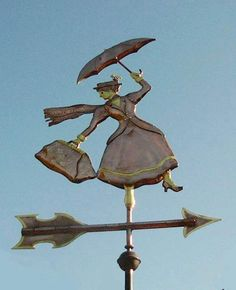 This shape might make a unique shop sign.  Mary Poppins weathervane in Cambridgeshire, England