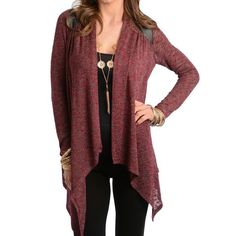Burgundy Cardigan Burgundy Cardigan. Long sleeve slub knit top features an open front design with contrast shoulder accent. Pointed hem detail. 50.9% rayon 45.6% polyester 3.5% spandex. Made in the USA.  1a1b.  Please DO NOT buy this listing. If you're interested please let me know and I will create you a new listing. Thank you. Jackets & Coats