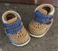 """baby boys bootees crochet pattern Shoes """"Cairo Boots"""" PATTERN ONLY"""