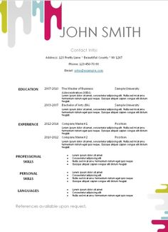 Resume Template Free Download In Word 101 Resume Templates 101Resumetempla On Pinterest