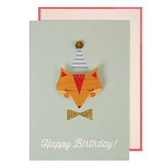 Geburtstagskarte Fox mit Anstecker nordliebe.com