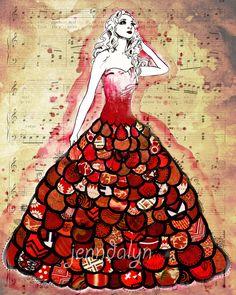 red dress fashion illustration princess ball gown fancy sheet music art print
