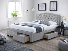 Lit ELECTRA style moderne 160 x 200 cm en tissu gris clair Bed Furniture, Furniture Design, Bedroom Wall, Bedroom Decor, Upholstered Beds, How To Make Bed, Modern Sofa, Bed Frame, Home Goods