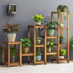 Flower Rack Plant Stand Multi Wood Shelves Display Shelf Indoor Outdoor Yard Garden Patio Balcony Storage Rack 12 Pots Image 1 of 5