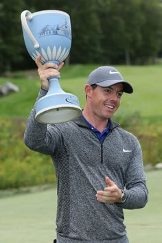 Rory McIlroy poses with the trophy during the final round of the Deutsche Bank Championship at TPC Boston on September 5, 2016 in Norton, Massachusetts.