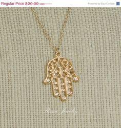 JEWELRY SALE Hamsa Hand Necklace  Gold Hamsa  by ReinaJewelry, $12.00
