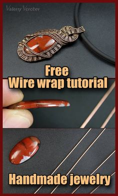 Wire wrapping pendant tutorial. DIY wire jewelry (no soldering). How to make a wire wrapping pendant without hole using copper wire and natural stone cabochon. This is a simple technique. But is rather complex at the same time. You can use it to create beautiful jewelry and accessories. It's really amazing what you can do with copper wire, a few beads, and a set of tools! Don't worry – you don't need to solder anything! You also don't need any torches, solders or fluxes! Copper Jewelry, Copper Wire, Wire Jewelry, Wire Crafts, Jewelry Crafts, Handmade Jewelry, Wire Wrapped Necklace, Wire Wrapped Pendant, Wire Weaving Tutorial
