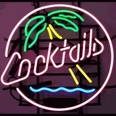 "COCKTAILS & PALM TREE NEON SIGN-NN5CPALM  22"" wide, 22""high, 4"" deep  Show off some tropical flair in your bar with our Cocktails Palm Tree Neon Sign, featuring multi-colored, hand blown tubing supported on a black, finished metal grid. The Cocktails Palm Tree Neon Sign can be displayed flat on a wall or in a window or alternately be placed upon a shelf."