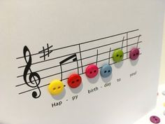 Happy Birthday Music Card - Birthday Card with Button Notes - Paper Handmade Greeting Card - Etsy UK Happy Birthday Music, Happy Birthday Signs, Birthday Wishes Quotes, Birthday Songs, Happy Birthday Greetings, Happy Birthday Cakes, Handmade Birthday Cards, Birthday Images, Card Birthday