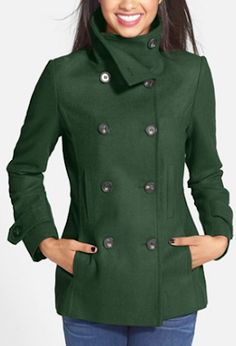 cute double breasted green pea coat http://rstyle.me/n/tjivvr9te