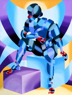Mark Webster - Michael - Abstract Futurist Figurative Oil Painting by Mark Webster Oil ~ 36 x 48