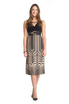 This dress features a patterned skirt.