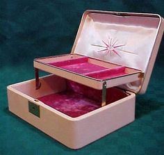 Farrington Jewelry Box Vintage Lady Buxton Red Crocodile Patent Faux Leather Tiered Jewelry