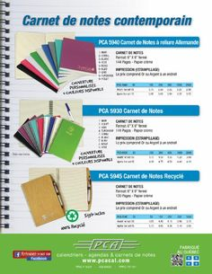 PCA http://www.pcacal.com/product-category/journals-notebooks-fr/medium-notebooks-journals-fr/?lang=fr http://www.pcacal.com/product-category/journals-notebooks-fr/large-notebooks-journals-fr/?lang=fr http://www.creatchmanpromo.ca/