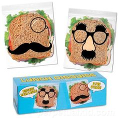 Do you deal with people stealing your lunch by just leaving a passive aggressive note on the fridge?  We all know that never works so why not disguise your food?  Just slip your sandwich into one of our Lunch Disguise Sandwich Bags and your lunch will be incog-neat-o!  One bag has the traditional Groucho disguise on it and the other a monocle and mustache combo.  Two fancy styles to camouflage your food!  No one will ever notice your sandwich to steal it!  Each bag measures 8.75 inches long