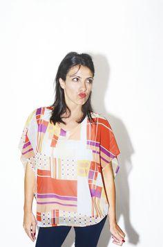 #DIESSE #SpringSummer2016 #shirt Doubled Kimono blouse, wide round neck, multicolor geometric print #model #StellaScorzo #photographer #MariannaDepasquale #designer #DiegoSalerno  http://www.diessefashion.it/