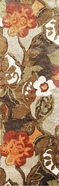 Jaipur Bl12 Hand Tufted Floral Pattern Wool Art Silk Brown Orange Area Rug