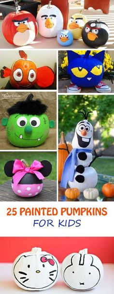 25 Painted Pumpkins for Kids - at Non Toy Gifts Painted pumpkins for kids. This Halloween turn your pumpkins into your kid's favorite characters. No-carve is great for young kids. Citouille Halloween, Holidays Halloween, Halloween Decorations, Pumpkin Art, Pumpkin Crafts, Fall Crafts, Pumpkin Painting, Olaf Pumpkin, Angry Birds Pumpkin