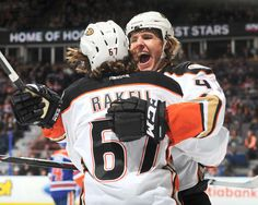 Hampus Lindholm #47 and Rickard Rakell #67 of the Anaheim Ducks celebrate after a goal during the game against the Edmonton Oilers