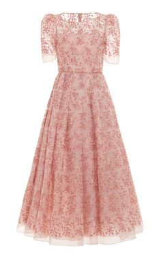 Embroided Georgette Midi Dress by Luisa Beccaria Event Dresses, Modest Dresses, Simple Dresses, Pretty Dresses, Beautiful Dresses, Summer Dresses, Formal Dresses, Maxi Dresses, Formal Shoes