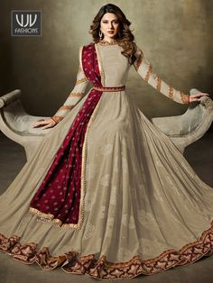 Buy Stylish Gray Colored Partywear Embroidered Lycra-Jacquard Anarkali Suit at Rs. Get latest Anarkali suit at Peachmode. Party Wear Indian Dresses, Indian Fashion Dresses, Indian Bridal Outfits, Indian Gowns Dresses, Pakistani Bridal Dresses, Dress Indian Style, Pakistani Dress Design, Indian Designer Outfits, Pakistani Outfits