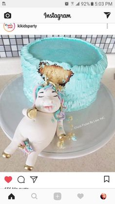 Fat unicorn ate the cake. Birthday cake idea.