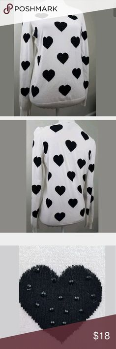 INC Imternational Concepts Beaded Heart Sweater Adorable Beaded heart sweater black and white Good clean condition. Has some piling under the arms chest 36 INC International Concepts Sweaters Crew & Scoop Necks