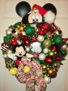 your favorite Disney character! Mickey Mouse Wreath, Mickey Mouse Crafts, Disney Wreath, Mickey Mouse Christmas, Disney Crafts, Disney Christmas Decorations, Christmas Crafts For Kids, Holiday Crafts, Christmas Time