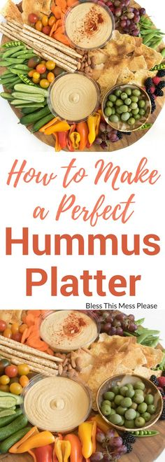 How to Make a Perfect Hummus Platter - A simple DIY hummus platter is a beautiful addition to any party, or it can be a meal all on it's own! And it couldn't be easier to make! Healthy Afternoon Snacks, Healthy Dinner Recipes, Healthy Snacks, Vegan Recipes, Healthy Eating, Healthy Smoothies, Vegan Appetizers, Appetizers For Party, Appetizer Recipes