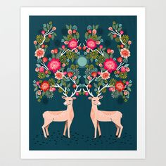 Buy Deer with Flowers by Andrea Lauren  by Andrea Lauren Design as a high quality Art Print. Worldwide shipping available at Society6.com. Just one of…