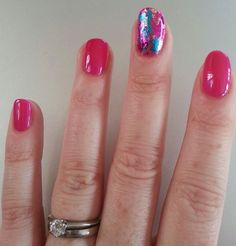 Shellac Tutti Frutti with foil feature nail - summer brights!