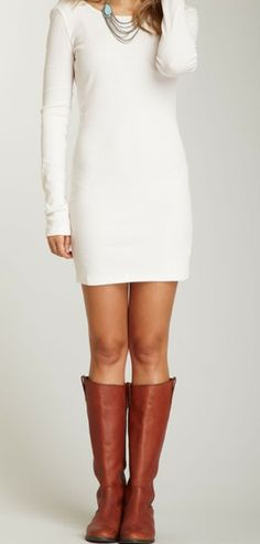 white dress with brown boots