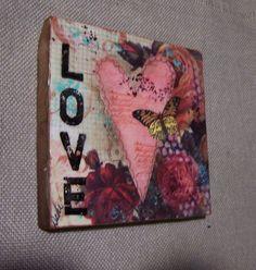 Valentines Love original mixed media Encaustic by Debidoodah, $32.00