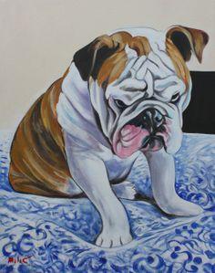 """ryan's bulldog 28x22"""" oil on canvas by DRAGOSLAV MILIC"""