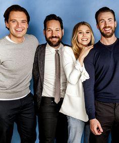 Sebastian Stan, Paul Rudd, Elizabeth Olsen and Chris Evans photographed by Marc Royce for USA TODAY