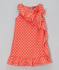 Look what I found on #zulily! Coral Polka Dot Ruffle Dress - Toddler & Girls by Zunie & Pinky #zulilyfinds