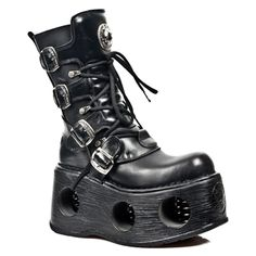 New Rock Newrock Boots Style Spring Black Unisex Punk Fashion, Fashion Boots, Gothic Fashion, Botas Goth, Calf Boots, Shoe Boots, Leather Boots, Black Leather, New Rock Boots